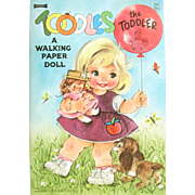TOODLES the Toddler- A Walking paper Doll; MINT 1966 Saalfield. She TRULY Walks with a Rotating Circle Attached to her Body