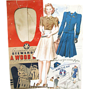 American Airlines STEWARDESS - A WOOD DOLL in Envelope with Four Authentic Uniforms and Evening Wear. Whitman Publishing #3946