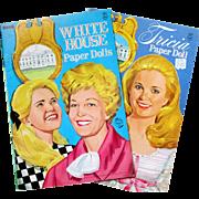 2 Nixon WHITE HOUSE Paper Dolls, Saalfield Vintage 1969/1970; Tricia Paper Doll & White House Paper Dolls,