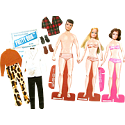 """Vintage Very Unique PRETTY QUIX WEDDING PARTY #4007 Boxed; Three Paper Dolls with  """"Barbie"""" Plastic Heads-Rub-on Wardrobes"""