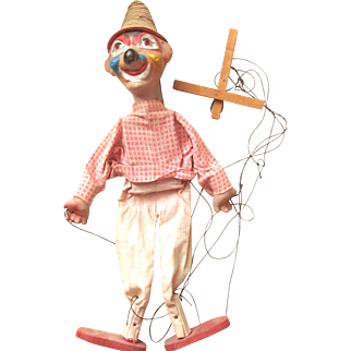 Vintage CLOWN PUPPET Wood and Composition; Cloth Clothes and Straw Hat