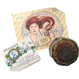 Victorian VANITY SET of Beauty Products; French Bourjois Paris/New York Soap, Talcum Powder, Hair Net, Unused and Excellent Condition
