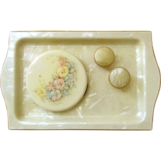 Edwardian VANITY SET made of Dupont Pyralin/Celluloid; Includes Tray, Small Lidded Containers, Celluloid Unused Hand Painted Compact with Mirror and Puff