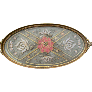 """Gold Plated """"DORANTIQUE APOLLO"""" 2697 12 Glass Victorian or Edwardian Lace Floral Embroidered Vanity Tray - with a Needle Insert"""