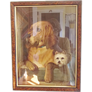 """Vintage Portrait of 2  Dogs Signed """"R. Robinson"""" Copy of """"Dignity and Impudence"""" by Landseer"""