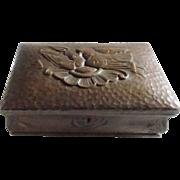 Antique Walnut Hand Made Folk Art Trinket Box with Love Birds/Doves - Red Tag Sale Item