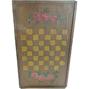 Petite c. 1920's-30's Hand Made Folk Art Checkers Chess Game Board With Painted Roses