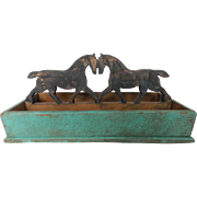 Vintage Folk Art Painted Knife Cutlery Box With Prancing Horses Handle