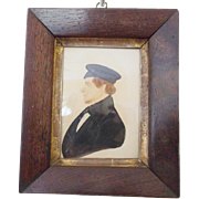 Antique C. 1840's Naive Folk Art Watercolor Painting of Young Gentleman