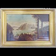 Antique C. 1910-15 American Folk Art Landscape Painting of Northwest Coast Village