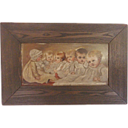 Unique Antique Early 1900's Folk Art Painting on Glass of 6 Infants
