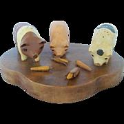 Vintage Hand Carved & Painted Wood Folk Art Vignette of 3 Pigs Eating Corn