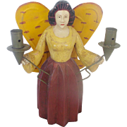 Wood Hand Carved & Painted Folk Art Angel With Tin Wings Candle Holder - Red Tag Sale Item