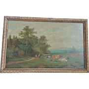 19th C. Folk Art Oil on Canvas Pastoral Landscape Painting with Cows & Maidens