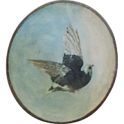Late 19th C. Victorian Folk Art Black & White Dove Painting in Wood Dough Bowl