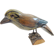 Vintage Folk Art Brown, Blue, & Yellow Painted Bird Carving