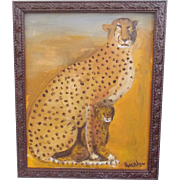 Folk Self Taught Outsider Art Painting of Mother Cheetah & Cub