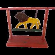 """Vintage Folk Art Painted Swinging Lion Carnival Target Signed """"O.C. Buck, 1963"""""""