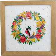 Vintage Folk Art Reverse Painted Tinsel Painting of Wreath & Partridge