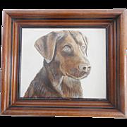 Vintage Folk Art Gouache Portrait Painting of a Chocolate Lab Dog