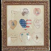 Set of 9 Framed C. 1918 Hand Made Naive Folk Art Valentines