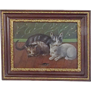 Early 1900's Folk Art Oil Painting of Mama Cat, 2 Kittens, & Mouse