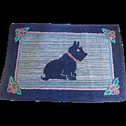 Large Vintage 1930's-40's Hooked Scotty Dog Rug