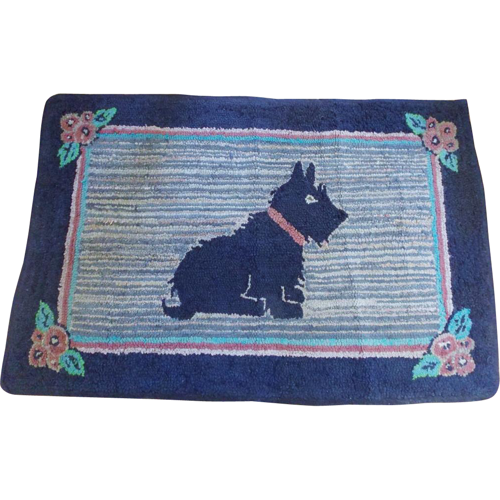 Large Vintage 1930's-40's Hooked Scotty Dog Rug From