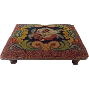 Early 1900's Folk Art Needlepoint Footstool With Straw Stuffing