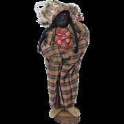 Early 1900's Primitive Folk Art Native American Chief Apple Head Doll