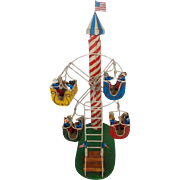 Folk Art 4-Car Ferris Wheel Toy w/Dogs & Cats Playing Instruments