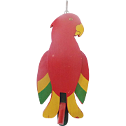 Vintage Folk Art Articulated Red Parrot Wall Door Hung Clothes Hanger