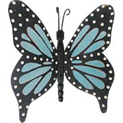 Vintage Folk Art Blue Swallowtail Butterfly Wall Decor