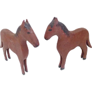 Pair of Vintage Primitive Hand Made Folk Art Horses