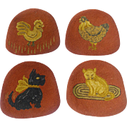 Set of 4 Vintage Hand Made Folk Art Hooked Chair Pads inc. Cat, Dog, Rooster, & Hen