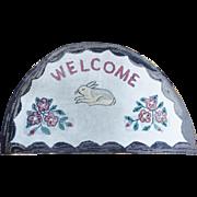 """Vintage 1920's Folk Art Rabbit """"Welcome"""" Hooked Rug"""