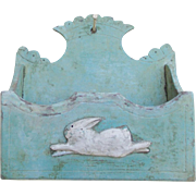 Early 1900's Primitive Folk Art Aqua Painted Candle Wall Box with Applied Leaping Rabbit