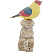 Vintage Folk Art Fanciful Polychrome Bird Carving on Old Finial