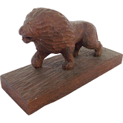 """Dated 1945 Folk Art POW Carved Lion Signed """"Eberhard Friedric"""" From My Collection"""