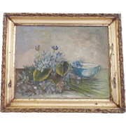 Diminutive 19th Century Floral Still Life Oil on Board Painting of Violets