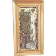 19th C. PA. Dutch Style Folk Art Etched & Beveled Framed Mirror Love Token