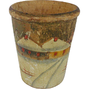 Early 1900's Diminutive Treenware Cup With Hand Painted Winter Scene