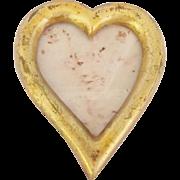 Diminutive Vintage Hand Carved Folk Art Heart Shaped Picture Frame