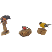 Three Vintage Folk Art Miniature Bird Carvings inc. Oriole, Signed Goldfinch, and Unknown Bird
