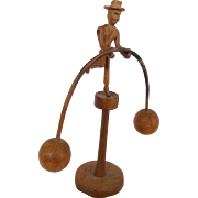 Vintage 1930's Hand Carved Folk Art Man in Suit and Hat Balance Toy