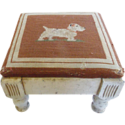 Early 1900's Oyster White Footstool with Jack Russell Needlepoint Top