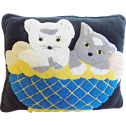 Vintage Hand Made Folk Art Hooked Pillow With Kittens in Basket