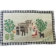 Mid 20th C. Martha's Vinyard Folk Art Pictorial Hooked Rug with Girl, Cows, Dog, & Butterfly