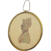 Unique 19th C. Folk Art Painted Painted Silhouette Portrait of Woman in Bonnet