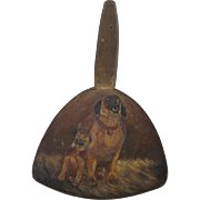 19th C. Folk Art Hand Painted Butter Paddle of English Mastiff Dog & Puppy